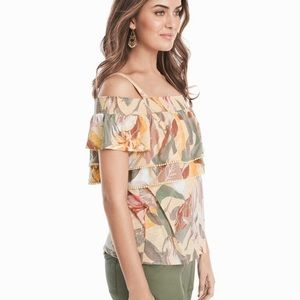 WHBM floral tropical cold shoulder ruffle top